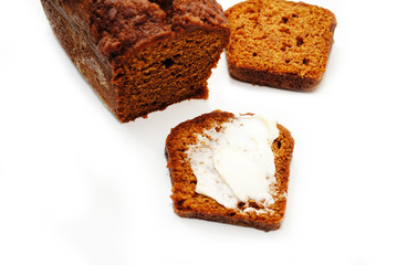 Sliced Pumpkin Bread with Butter