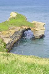 Natural arch at Tunnel beach, Otago Peninsula, New Zealand