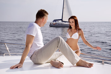 Honeymoon couple on a yacht