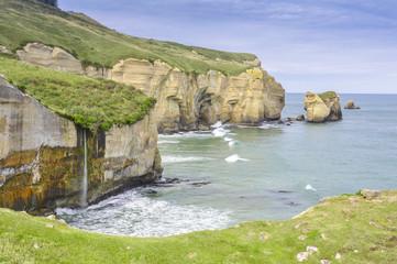 Cliffs of Tunnel beach, Otago Peninsula, New Zealand