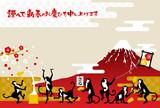 Fototapety サルと赤富士と正月の風物詩 賀詞付