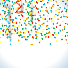 Confetti and streamers, background with copy space