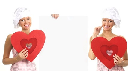chef smiling woman shows information Valentine restaurant