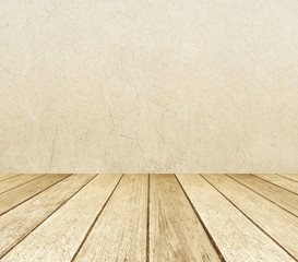 Brown cement wall and old wood floor in perspective, background