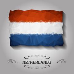 Vector geometric polygonal Netherlands flag.