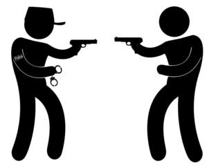 policier face à un bandit armé