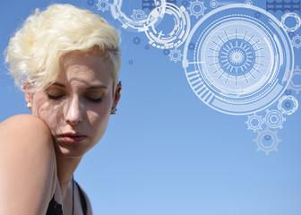 sensitive blonde Woman