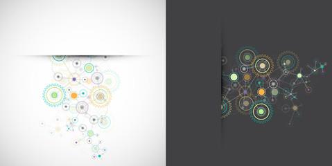 Abstract cogwheel technology net background.