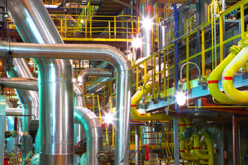 Industrial pipeline.Interior of chemical factory