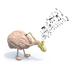 human brain with arms and legs who play saxophone