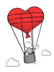 little sketchy man flying in a heart-shaped captive balloon