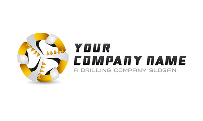Logo template, mining business, drillers, flat logo