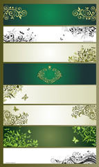 Horizontal banners with vintage floral design