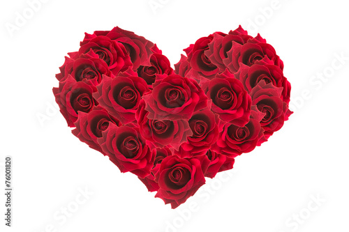 Staande foto Roses Valentines Day Heart Made of Red Roses Isolated