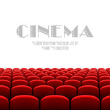 Cinema auditorium with white screen and red seats