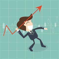 businessman throwing a javelin upwards -   growth arrow chart