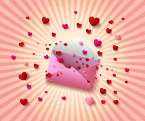 Vector illustration of Open envelope with  hearts