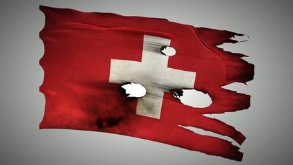 Switzerland, perforated, burned, grunge waving flag loop alpha