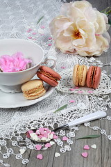 Valentine's Day: Romantic tea drinking with macaroon and hearts