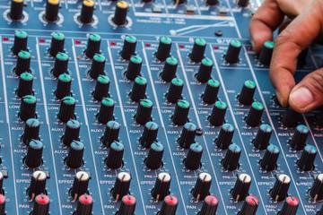 Audio mixing console closeup