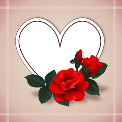 Floral background with heart and red roses