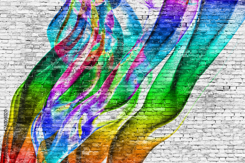 Fototapeta abstract colorful painting over brick wall