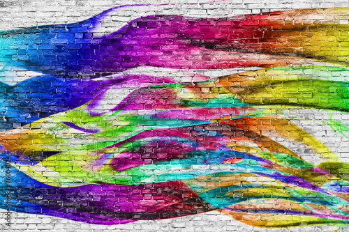 abstract colorful painting over brick wall Poster