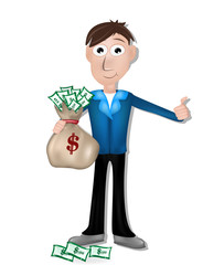 man with money. Hands holding a bag
