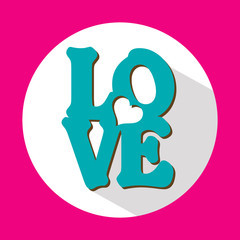 Love, flat icon with long shadow, vector