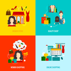Woman Shopping Flat