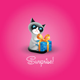 Vector illustration of grumpy cat with blue gift box and inscrip poster