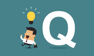 "Businessman get the idea with the word ""Q"", Business concept"