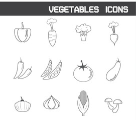Vegetables Icons Symbol Vector Illustration