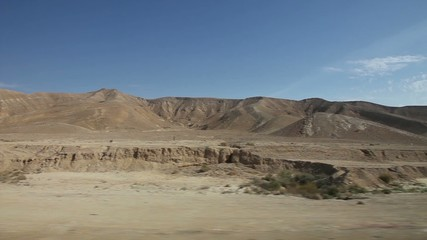 View of passing landscape from a bus window. The South of Israel