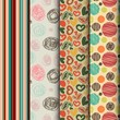 set of seamless abstract pattern in retro style