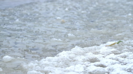 Water with ice ashore sea  splashing in winter