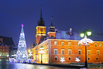 Warsaw, Castle square in the Christmas holidays