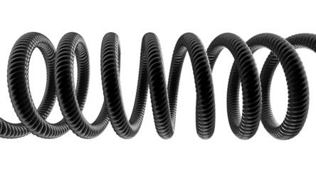 Black Phone Cord On White Background
