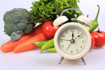 Vegetables and alarm clock