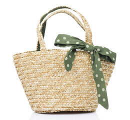 Rattan Basket with Green bow in White background