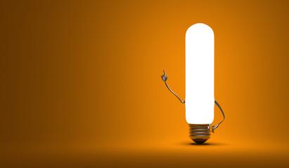 Tubular light bulb character in aha moment