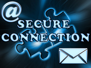 Inscription secure connection on abstract background