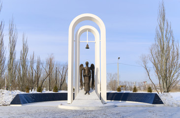 monument to  liquidators of  Chernobyl accident. Omsk.Russia