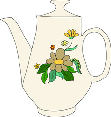 teapot with flowers background