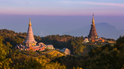 King and Queen Pagoda Of Doi Inthanon National Park Thailand