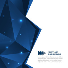 Blue abstract polygonal background with glitter