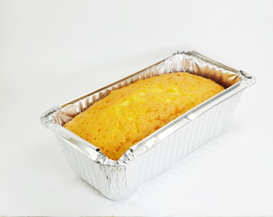 butter cake on aluminium tray