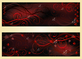 Valentines day love banners, vector illustration