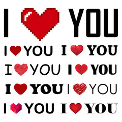 vector collection of I love you inscrIptions with hearts
