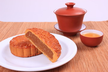 Moon cake and teacup